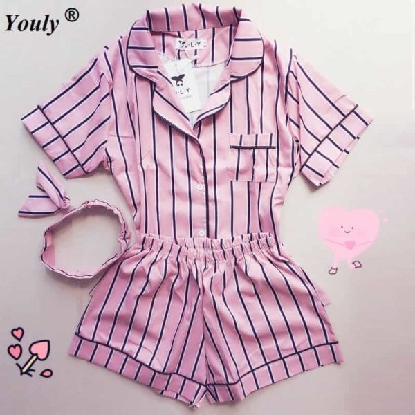 New Women Striped Short Sleeve Sleepwear 1