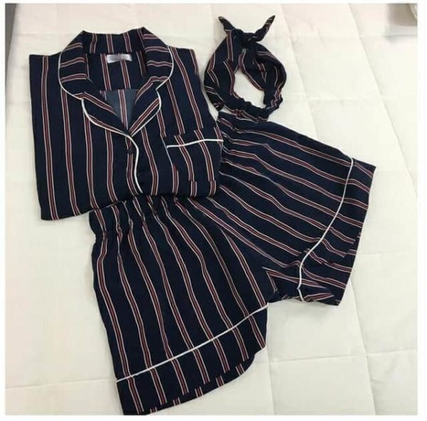 New Women Striped Short Sleeve Sleepwear 3