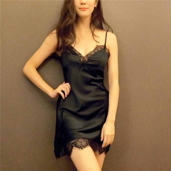 Sexy Women Nightwear Mini Nightgowns Deep V-Straps 4