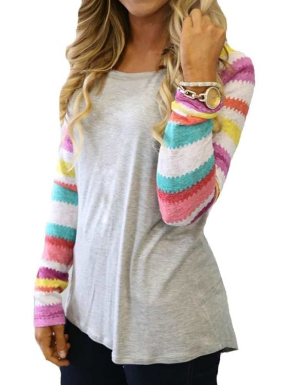 Striped Tops Ladies Casual Dovetail Shirt
