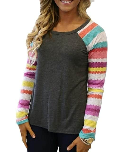 Striped Tops Ladies Casual gray