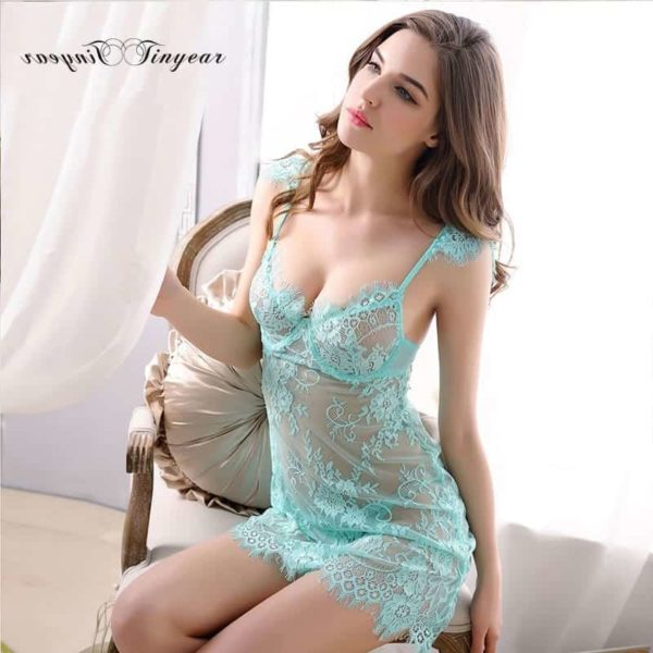 Super Sexy Sleepwear Dress Hollow Out Lace V-Neck 1