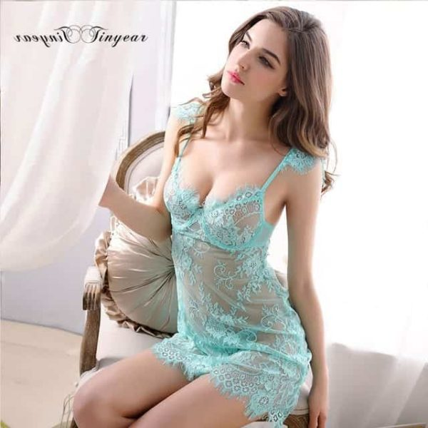 Super Sexy Sleepwear Dress Hollow Out Lace V-Neck 7