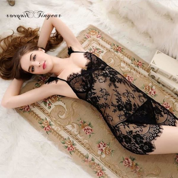Super Sexy Sleepwear Dress Hollow Out Lace V-Neck 2