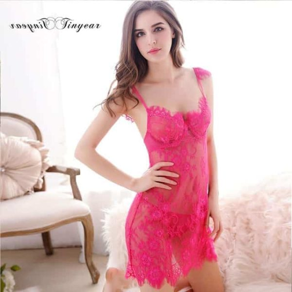 Super Sexy Sleepwear Dress Hollow Out Lace V-Neck 8