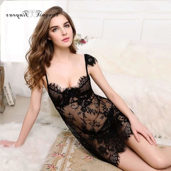 Super Sexy Sleepwear Dress Hollow Out Lace V-Neck 3