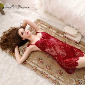 Super Sexy Sleepwear Dress Hollow Out Lace V-Neck