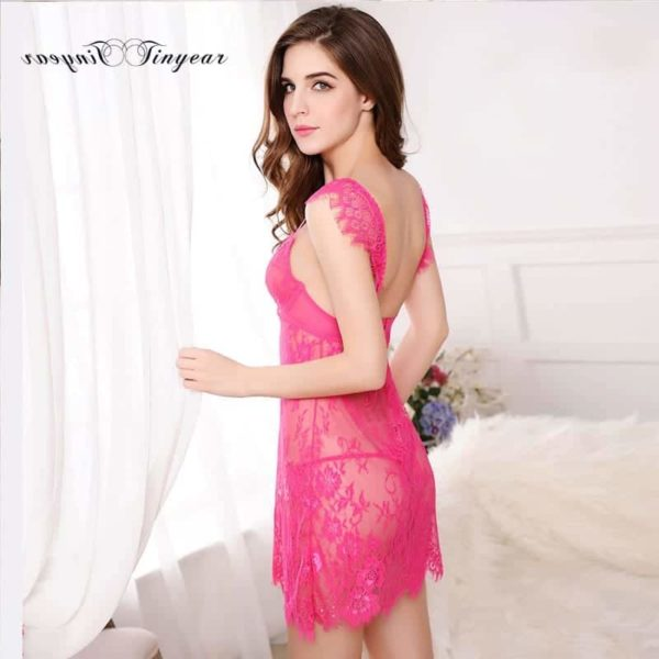 Super Sexy Sleepwear Dress Hollow Out Lace V-Neck 5