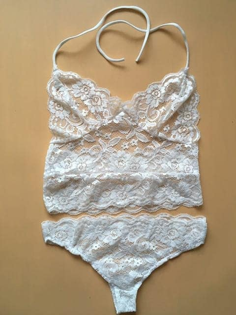 White Hollow Lace Tube Tops Sexy Lingerie Pajamas Pants Sleepwear Sets 3