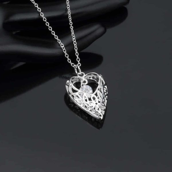 White Zircon Hollow Out Heart 925 Silver Choker Necklace 18'' 2