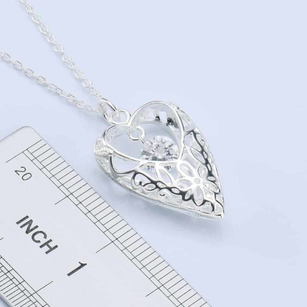 White Zircon Hollow Out Heart 925 Silver Choker Necklace 18'' 4