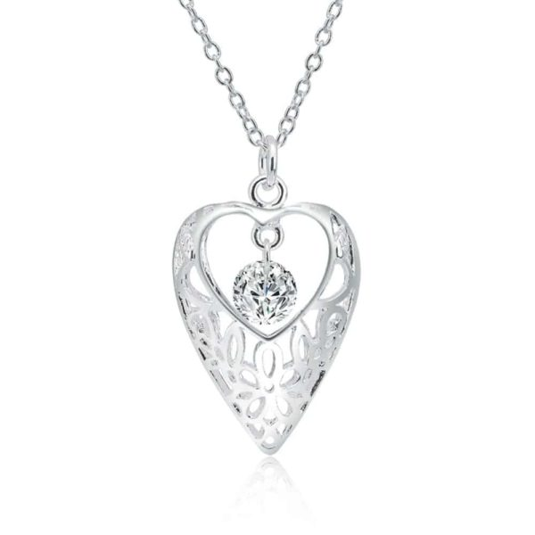 White Zircon Hollow Out Heart 925 Silver Choker Necklace 18'' 1