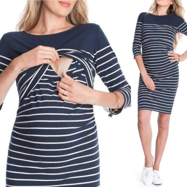 Fashion Women Striped Splicing Lactation Above Knee Dress 3