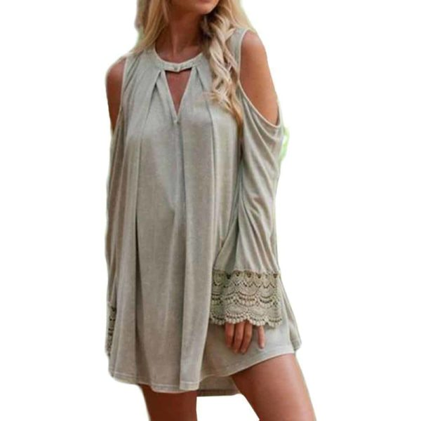 Women Lace Splicing Dress Solid Cold