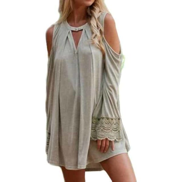 Women Lace Splicing Dress Solid Cold 2