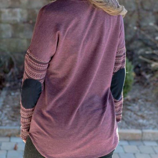 Purple Long Sleeve Elbow Patch Casual Shirt 2