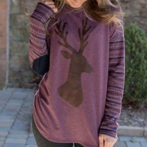 Purple Long Sleeve Elbow Patch Casual Shirt