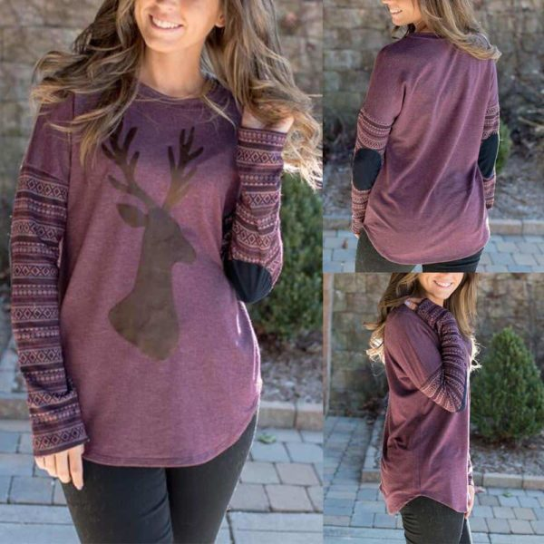 Purple Long Sleeve Elbow Patch Casual Shirt 4