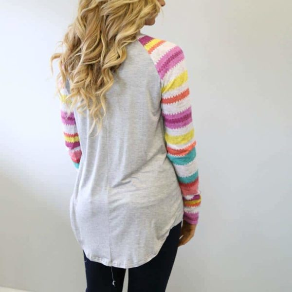 Striped Tops Ladies Casual Dovetail Shirt 1