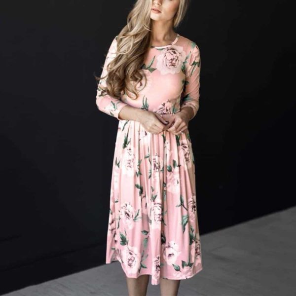 New Women Dress O-Neck Floral Printed Mid-Calf Pocket 2