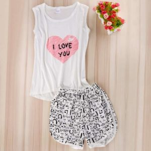 Cartoon Sleeveless Sleepwear Pajamas Set