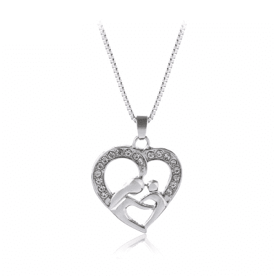 Love Hollow Out Rhinestone Mother Daughter Necklace