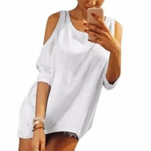 Strapless Casual T-Shirt Loose Tee Sexy Off Shoulder
