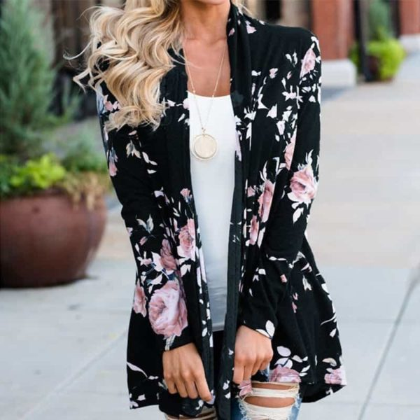 Long Sleeve Floral Printed Cardigan Casual 3