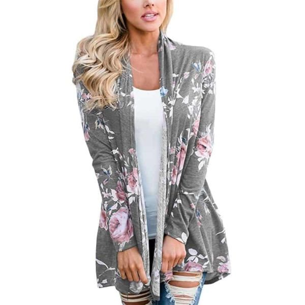 Long Sleeve Floral Printed Cardigan Casual 4