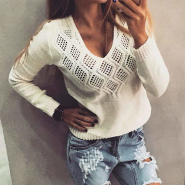 Fashion Women Sweaters Pullovers Sleeve 3