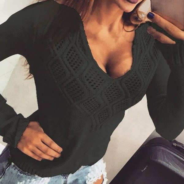 Fashion Women Sweaters Pullovers Sleeve 4