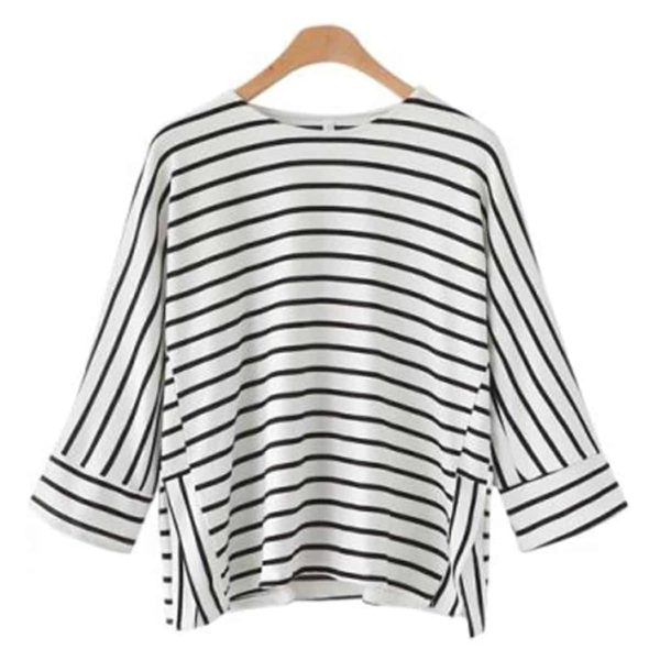 Alishebuy Women Casual O-Neck Raglan Striped T-Shirt 2