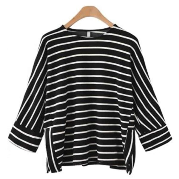 Alishebuy Women Casual O-Neck Raglan Striped T-Shirt 3