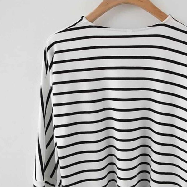 Alishebuy Women Casual O-Neck Raglan Striped T-Shirt 4