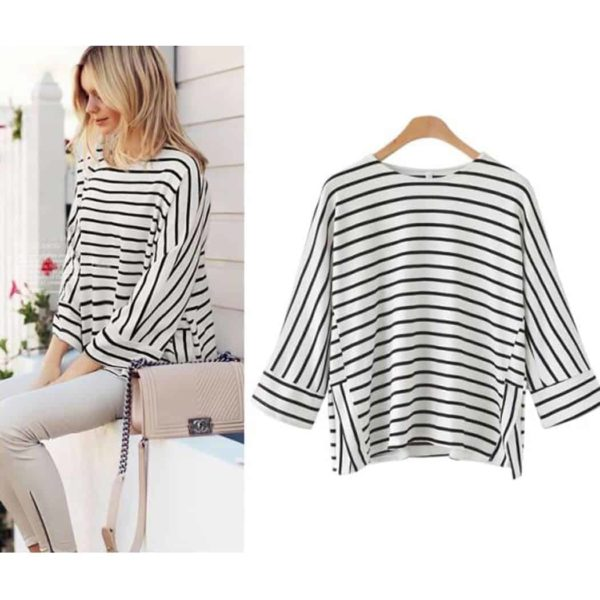Alishebuy Women Casual O-Neck Raglan Striped T-Shirt 1