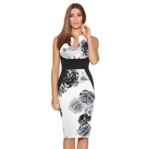 New Floral Women Patchwork Dress White and Black