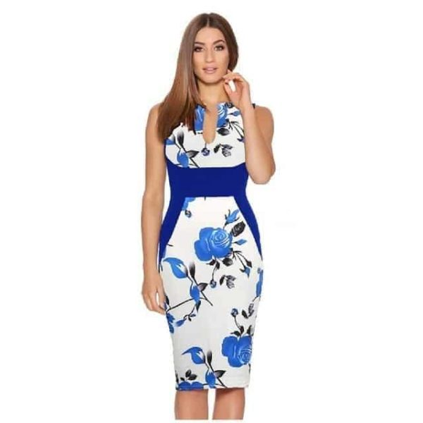 New Floral Women Patchwork Dress White and Blue