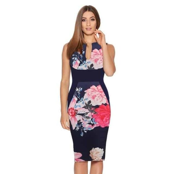 New Floral Women Patchwork Dress Navy Blue