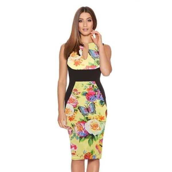 New Floral Women Patchwork Dress Yellow