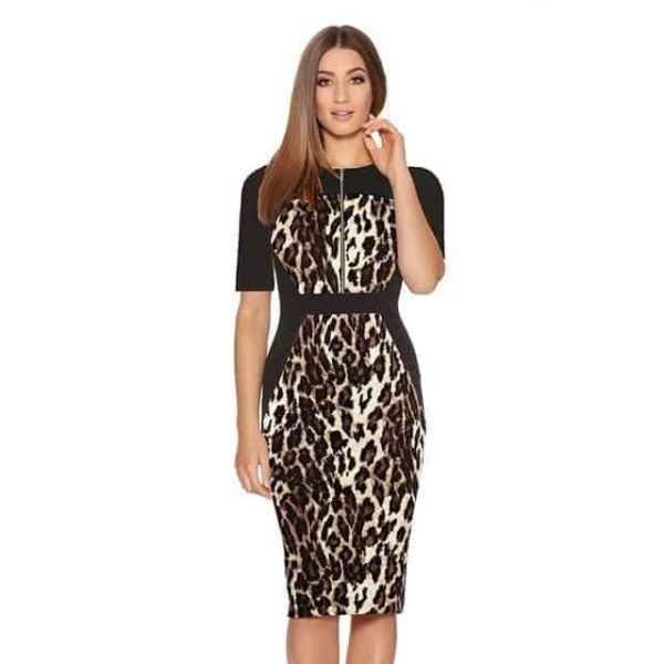 New Floral Women Patchwork Dress Leopard