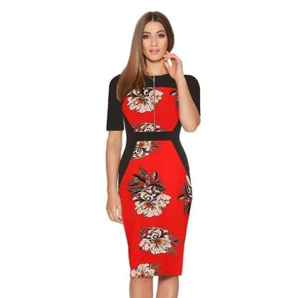 New Floral Women Patchwork Dress Red