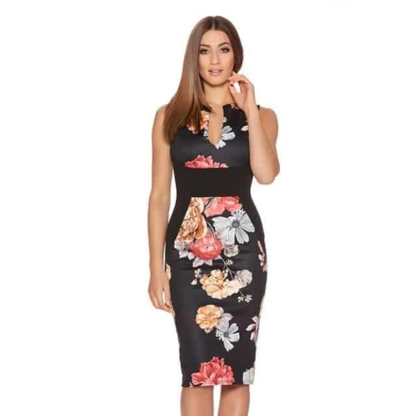 New Floral Women Patchwork Dress Black
