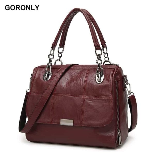 New Vintage Leather Chains Handbags for Women 1