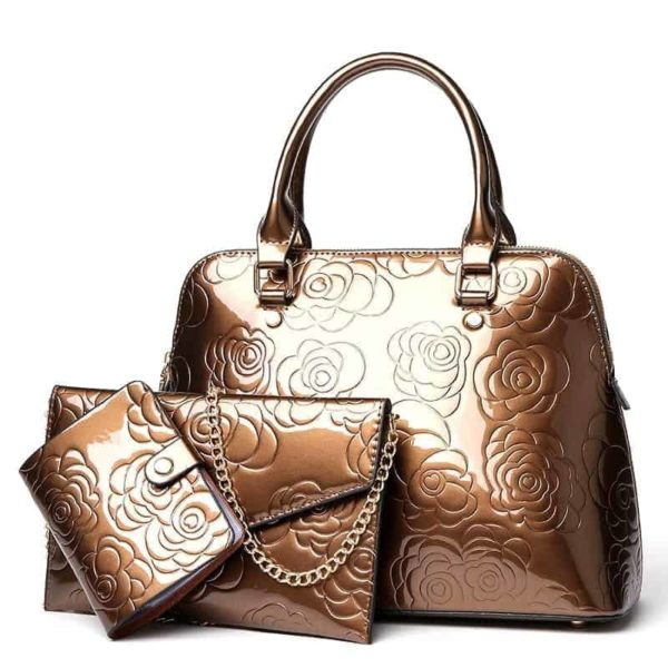 VOLESS Leather Women Bags Floral Printed 3pcs Set 2