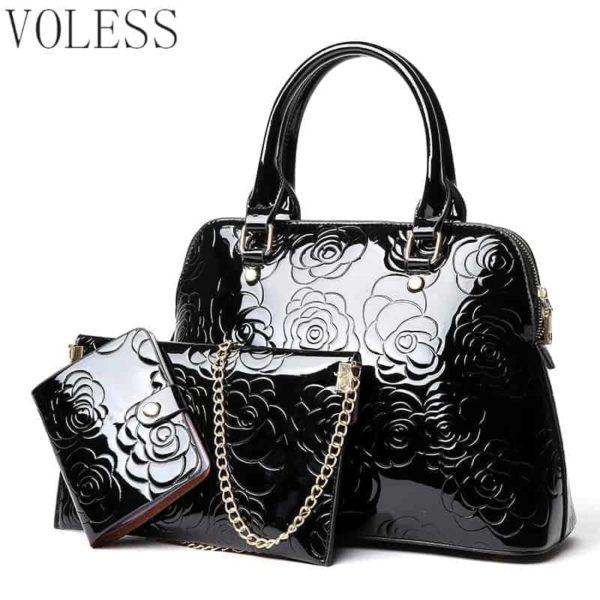 VOLESS Leather Women Bags Floral Printed 3pcs Set 1