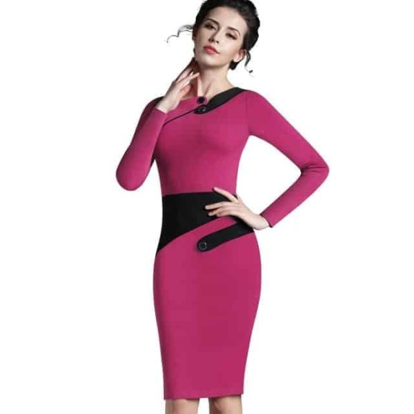 Nice Forever Polka Dots Elegant Patchwork Dress Pink