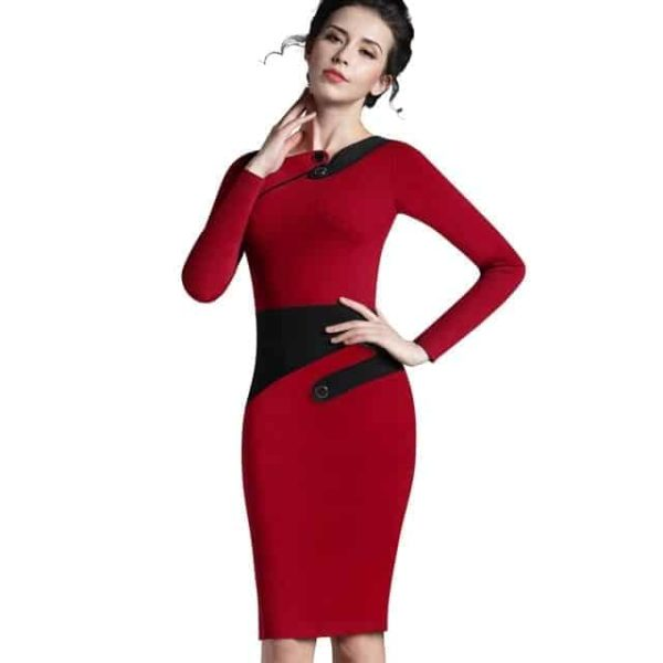 Nice Forever Polka Dots Elegant Patchwork Dress Red