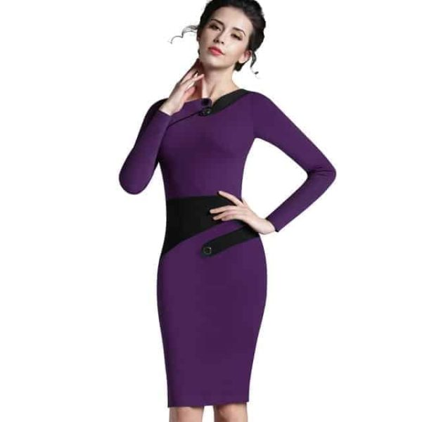 Nice Forever Polka Dots Elegant Patchwork Dress Purple