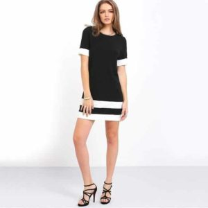 Color Block Mini Dress Short Sleeve Black and White
