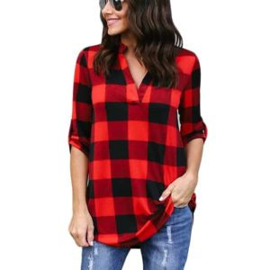 Long Sleeve Blouse Shirt V-Neck Plus Size